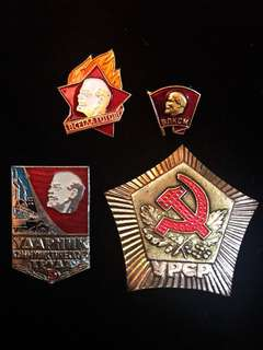 Vintage (ca. Before 1990) Soviet Union USSR Russian Hammer & Sickle Medal & Vladimir Lenin Enamel Badges Set, Communist Marxist Propaganda Collectibles 100% Originals.