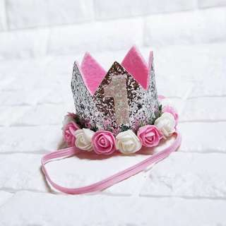 🚚 Instock - 1st silver flower birthday crown, spring summer 2018 collection