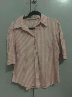 Marks & Spencer Pink Plaid Polo