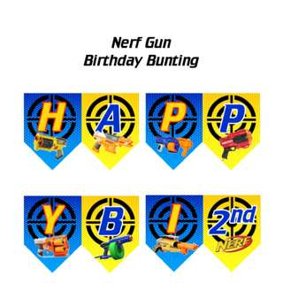 🚚 Nerf Gun, Nerf Wars Birthday Bunting, Banner, Flag