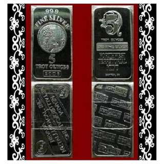 ♦ USA. NMI or NWTM - Vintage. Select [✔] 1x 5 Troy Oz. 999 Fine Silver Classic bar