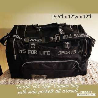 """Sports for Life"" Sports Bag, Black and White. Durable and Water-proof. Spacious and has many side pockets and robust zips. Good Condition. Size as in photos. Good & Clean Condition. $10 Clearance offer, sms 96337309."