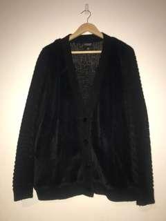 TOPSHOP Black Cardigan - Faux Fur Front