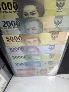 Indonesia first prefix.AAA ( Full.set ) 1000,2000,5000,10,000,20,000 50,000 ,100,000 total.7 pieces