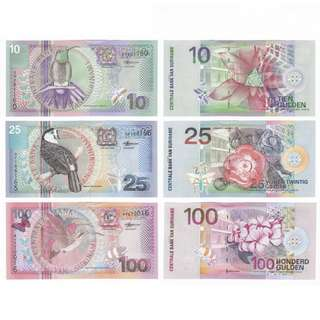 SET 3 PCS 2000 SURINAME 10, 25, 100 Gulden UNC