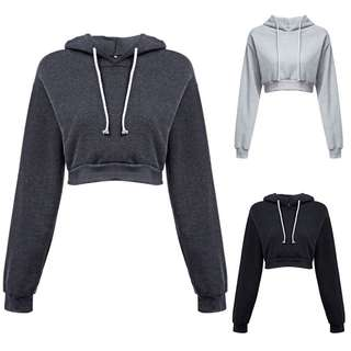 Ready Stock Dark Grey Crop Sweater Hoodie