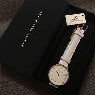 Daniel Wellingtons Watch (White) 白色皮帶金色框