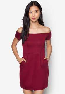 Burgundy Zalora Off-Shoulder Tulip Dress
