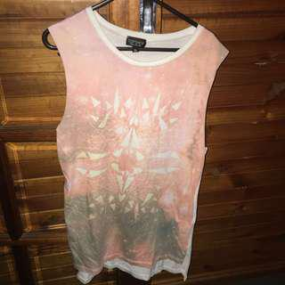 Long Topshop nude pink, grey & white sleeveless Top