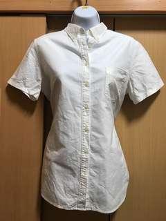 🚚 #女裝半價拉Muji 無印良品女用短袖白色襯衫 尺寸:XL