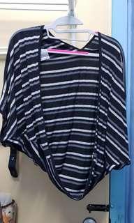 Plus Size Stripes Cardigan