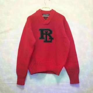 三件7折🎊 Ralph Lauren Polo 毛衣 針織毛衣 羊毛 紅 大logo 極稀有 老品 復古 古著 Vintage