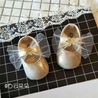 Baby Shoes gold ribbon