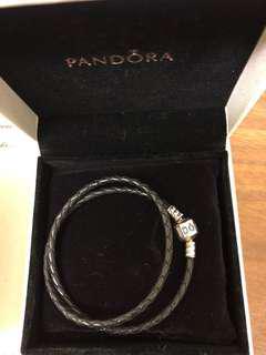 🚚 Pandora 潘朵拉黑色真皮雙環手鏈