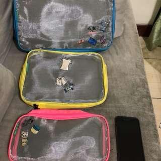 🚚 螢光色 盥洗包 過夜包 行李箱分類