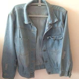 Oversized Light Blue Ripped Denim Jacket