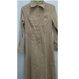 Plain Nude Classy Long Sleeves Maxi Long Dress (can be used for Office & Smart Casual Style / Winter Coat)