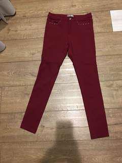 🚚 台灣精品質感酒紅長褲,純棉100%有彈性,一般薄度,腰圍平量28吋,褲長:92cm