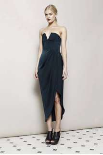 SHONA JOY v bustier draped silk midi dress