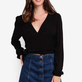 Cotton On Wrap Top - Black