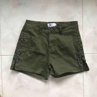 TEMT Army Green Shoelace Shorts