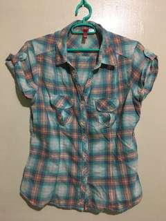 H&M checkered Top/Polo shortsleeves