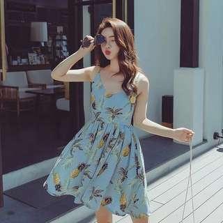 💫Pineapple Print Skater Dress