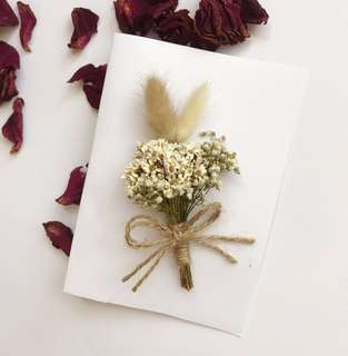 Bunny tails gift card/ dried flower card/ greeting card/ birthday card