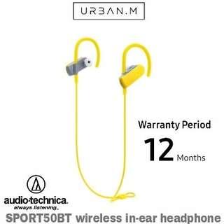 Audio-Technica SPORT50BT wireless in-ear headphone (Yellow)
