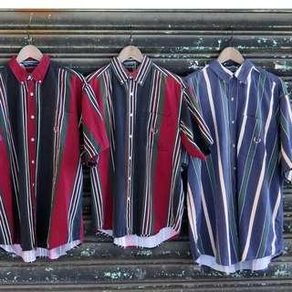 豬肉小姐  中性 OVERSIZE 短袖襯衫 Vintage 古著  復古  撞色襯衫   直條紋襯衫 二手