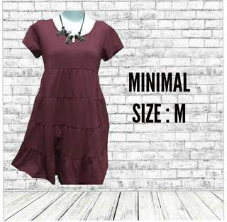 NEW! SALE MINIMAL MAROON DRESS