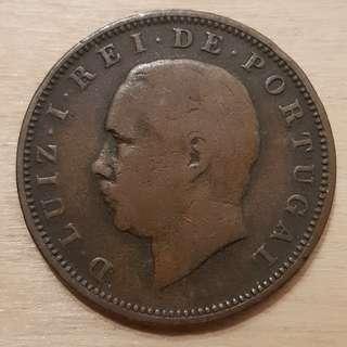 1883 Portugal King Luis I 20 XX Reis Coin
