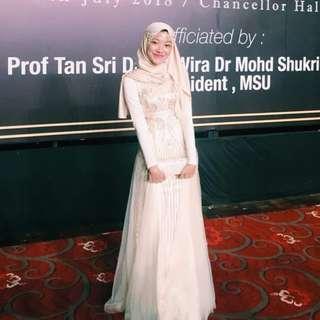 Champagne Sequin Long Gown Wedding Evening Dinner Dress / Wedding/ Bridesmaid Dress /Dress Nikah/ Maxi Dress (Rent)