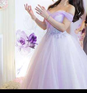 Light Purple Lilac Off Shoulder Evening Dress