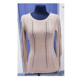 SALE!| Knitted Blouse, Long Sleeves, Tan