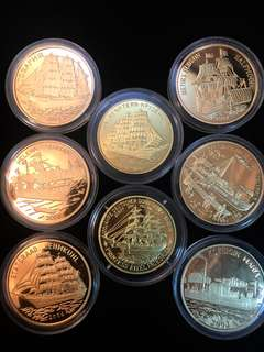 2003-2007 North Korea 20 Won Famous Ships Edition Various Years Minted x 8 Brass Coins Proof Struck. Uncirculated Mint Condition. Very Rare mintages.
