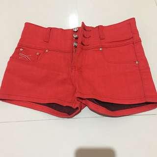 celana highwaist merah