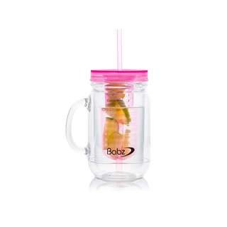 1436. Fruit Infusion Infused Water Mason Jam Jars Drinking Jar with Handle and Straw 500ml - Transparent (Pink)