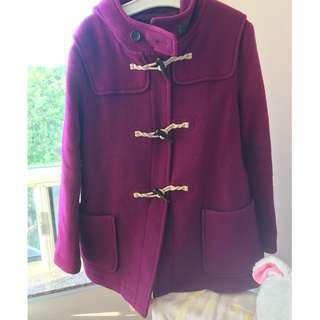 Uniqlo burgundy pea coat jacket size XL