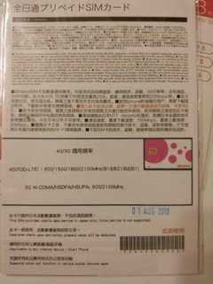 全新未開封2GB 4G 日本sim卡