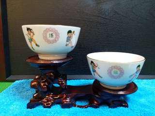 """70年代紀念""""乒乓外交"""" 全新庫存品醴陵製9.5公分描金小茶碗。 超荀價發售。"""