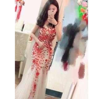 Red & White Sequin Long Dinner Dress/ Evening Gown / Wedding/ Bridesmaid Dress /Dress Nikah/ Maxi Dress (Rent)
