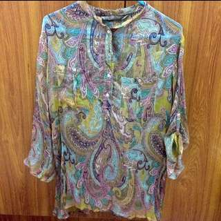 Zara Blue Paisley Top
