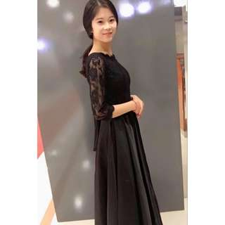 Royal Black Satin Lace Long Evening Gown Dinner Dress / Wedding/ Bridesmaid Dress /Dress Nikah/ Maxi Dress (Rent)