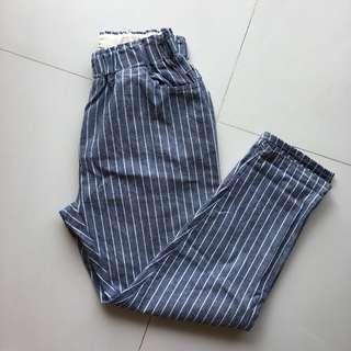 條紋棉麻9分褲