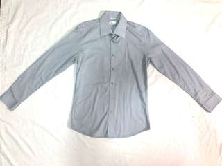 Wallstreet Gray Fitted Woven Long Sleeves