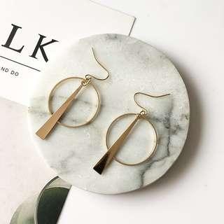 [PO] Circle Geometric Long Earrings