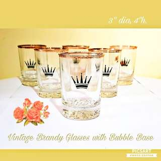 1950s Vintage Black Crown Logo Brandy or Whisky Glasses with Bubble base. Size as in photo. Good Condition, no chip no crack. All 6pcs for $15 Clearance Offer, sms 96337309.