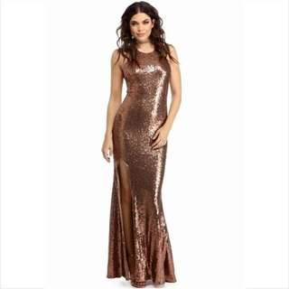 BRONZE/GOLD GOWN FOR RENT fits S-M
