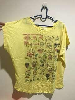 Atasan kuninga kucing yellow cat top kaos